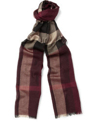 Burberry Shoes Accessories Plaid Wool And Silk Blend Scarf