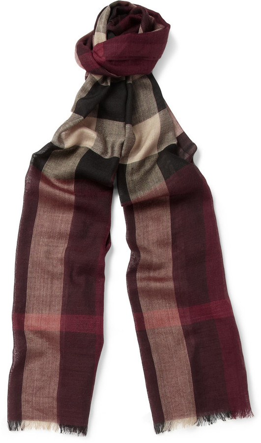 000f4f6343a06 Burberry Shoes Accessories Plaid Wool And Silk Blend Scarf, £287 ...