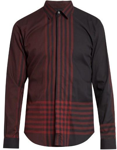 London Melthorpe Checked Cotton Herringbone Shirt. Burgundy Plaid Shirt by  Burberry fede938b8