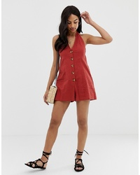 ASOS DESIGN Halter Playsuit With Button Detail In Self Stripe
