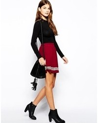 Carla skater skirt with embroidery burgundy medium 80510