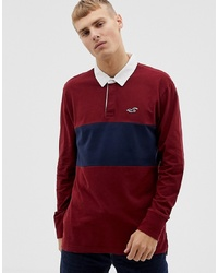 Hollister Icon Logo Long Sleeve Rugby Polo In Burgundynavy