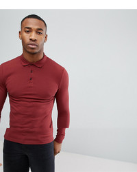 ASOS DESIGN Long Sleeve Muscle Fit Pique Polo In Red