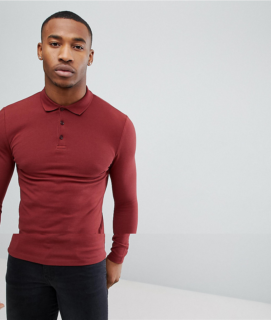 3b1c93be ... Neck Sweaters ASOS DESIGN Long Sleeve Muscle Fit Pique Polo In Red