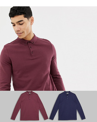 ASOS DESIGN Long Sleeve Pique Polo With Collar 2 Pack Save