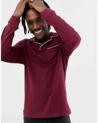 ASOS DESIGN Long Sleeve Revere Polo Shirt With Pocket And Tipping In Burgundy