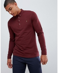 Farah Merriweather Long Sleeve Polo In Red