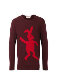 Burgundy Print Crew-neck Sweater