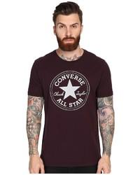 Burgundy Print Crew-neck T-shirt