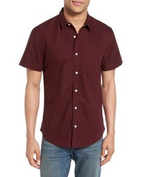 Burgundy Print Dress Shirt