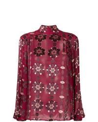 Burgundy Print Long Sleeve Blouse