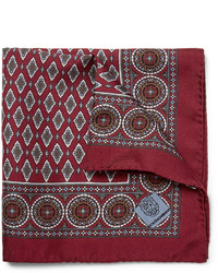 Burgundy Print Pocket Square