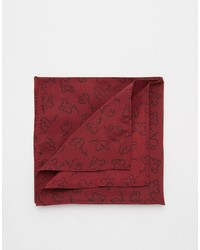 Asos Brand Pocket Square With Hand Drawn Flower Print In Burgundy