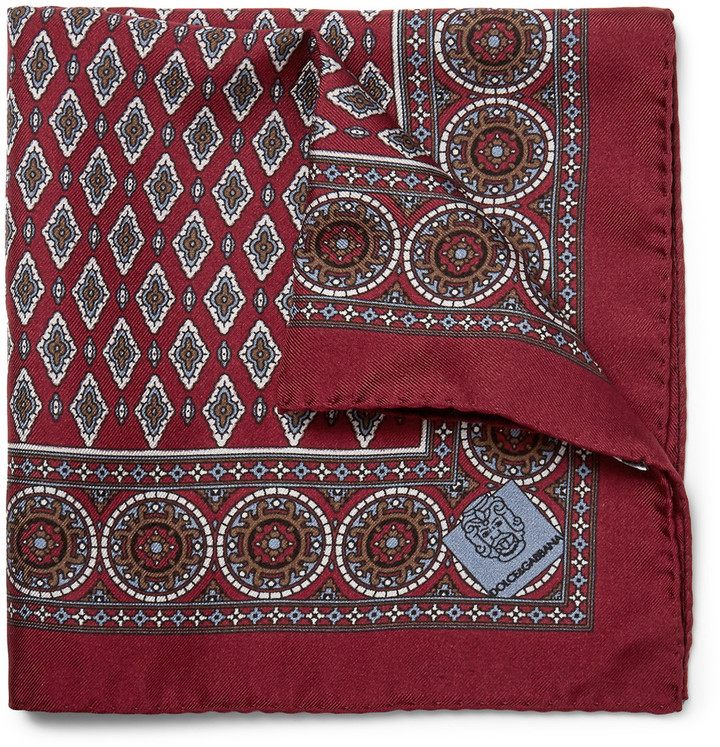 Dolce & Gabbana Printed Silk Twill Pocket Square