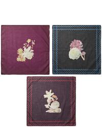 Massimo Alba Set Of Six Floral Print Cotton Pocket Squares