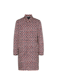 Valentino Single Breasted Scale Print Cotton Trench Coat