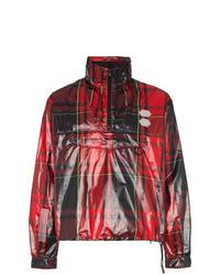 Off-White Tartan Print Zip Neck Boxy Fit Jacket