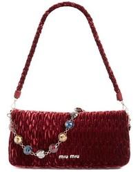 ... Miu Miu Medium Crystal Embellished Quilted Velvet Shoulder Bag Black ... 88df1f8b3cfb3