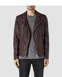 Burgundy Quilted Leather Biker Jacket