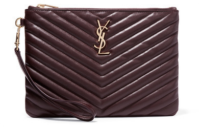 ... Saint Laurent Monogramme Quilted Leather Pouch Burgundy ... e6489205152e2