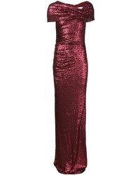 Burgundy Sequin Evening Dress