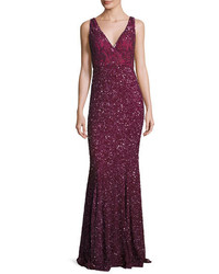 Rachel Gilbert Ombre Sequined V Neck Gown Burgundy