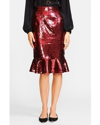 Burgundy Sequin Pencil Skirt