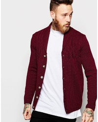 Asos Brand Cable Cardigan With Shawl Neck