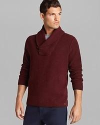 Burgundy Shawl-Neck Sweater