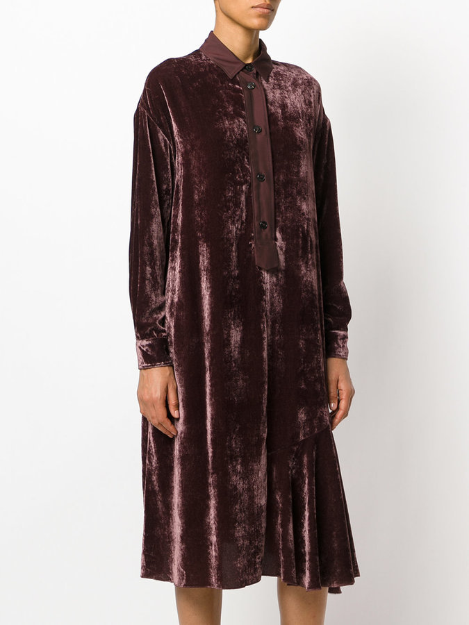 196f4fed Hache Velvet Button Up Shirt Dress, £418   farfetch.com   Lookastic UK