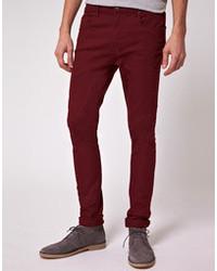 8021274ed0ed8 Burgundy Skinny Jeans for Men | Men's Fashion | Lookastic UK