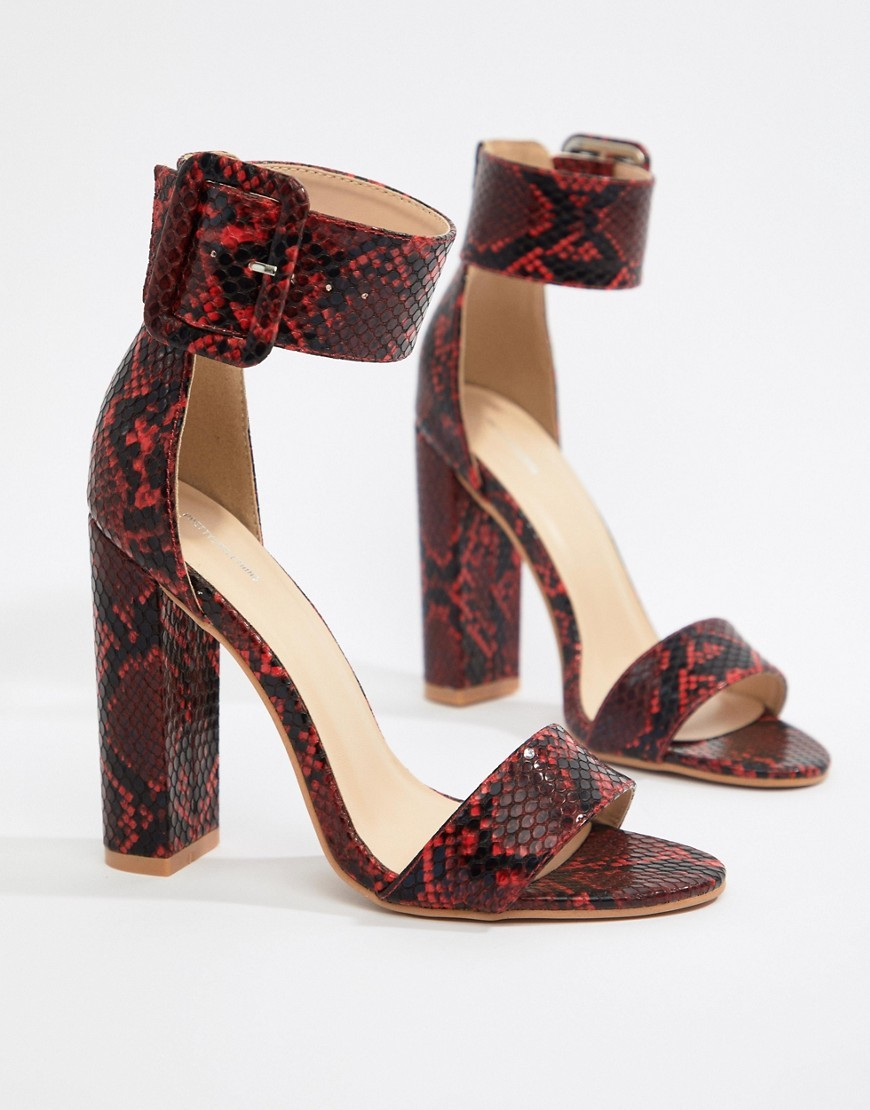 1148687a9a8 ... PrettyLittleThing Block Heel Sandals In Snake