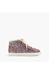J.Crew Girls High Top Sneakers In Glitter