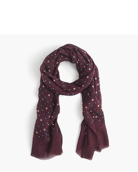 J.Crew Lightweight Wool Silk Star And Clover Scarf