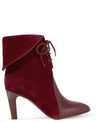 Chloé Leather Paneled Suede Ankle Boots Burgundy