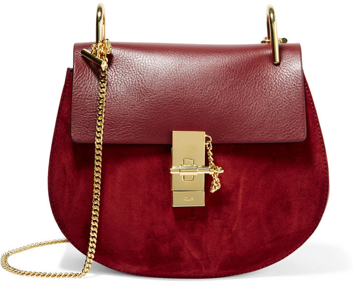 bc355077650b2 £1,604, Chloé Drew Small Leather And Suede Shoulder Bag Burgundy