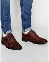 Asos Brand Oxford Brogue Shoes In Heavily Waxed Brown Suede