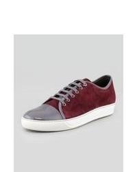 Burgundy Suede Low Top Sneakers