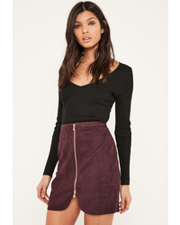 Burgundy Suede Mini Skirt