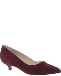 Ganni Berry Kitten Heel Suede Court Shoes Red Berry Suede