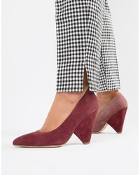 ASOS DESIGN Potion Premium Leather High Heeled Court Shoes In Pink And Burgundy Suede