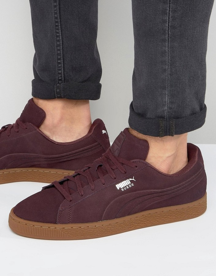 new concept 7c7c8 1bbf0 ... Burgundy Suede Sneakers Puma Suede Classic Debossed Sneakers In Red  36109803 ...
