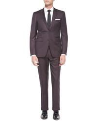 Burberry Milbank Check Two Piece Wool Suit Burgundy