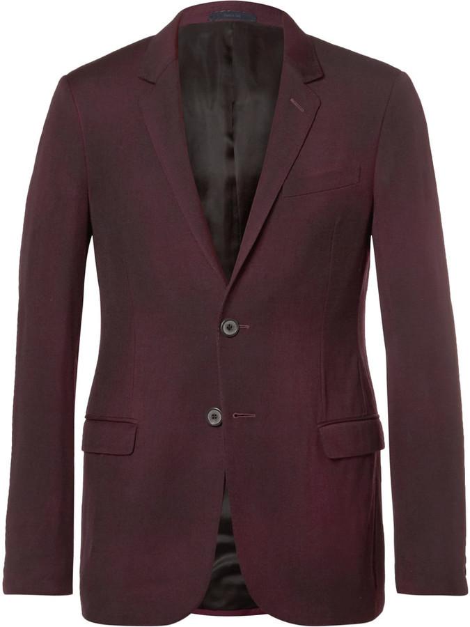 Lanvin Burgundy Slim Fit Overdyed Brushed Wool Gabardine Suit ...