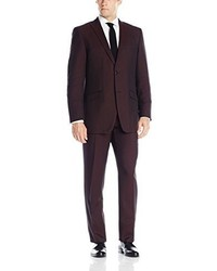 Perry Ellis Burgundy Two Button Side Vent Suit With Flat Front Pant