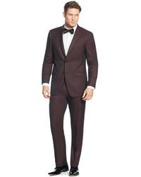 Perry Ellis Portfolio Burgundy Solid Slim Fit Suit