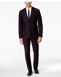 Perry Ellis Portfolio Extra Slim Fit Dark Burgundy Pindot Suit