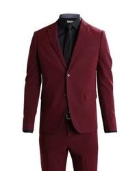 Lindbergh Slim Fit Suit Bordeaux Melange