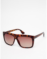 Jeepers Peepers Flat Brow Sunglasses In Tort
