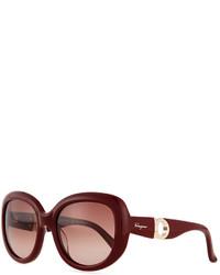 Salvatore Ferragamo Gancini Arm Sunglasses Burgundy